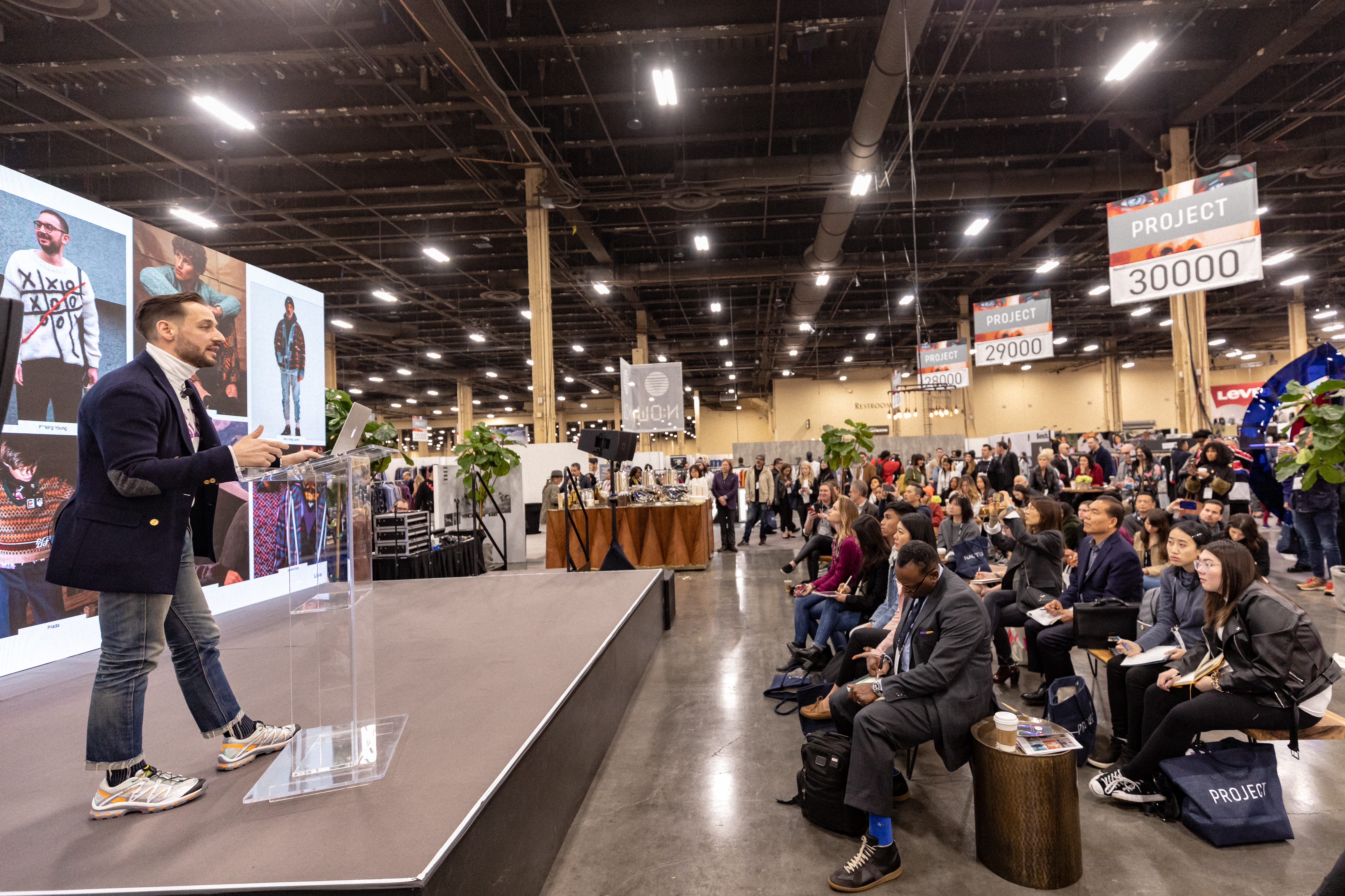 Brian Trunzo talks at the Men's Fashion Trade show PROJECT Las Vegas at MAGIC